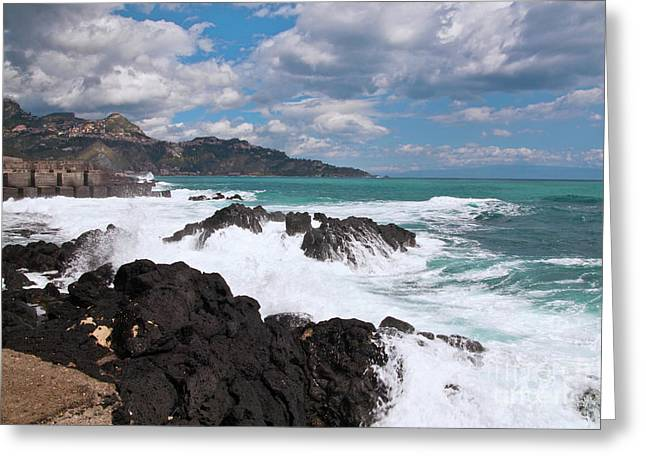 Greeting Card featuring the photograph Sicilian Stormy Sound by Silva Wischeropp