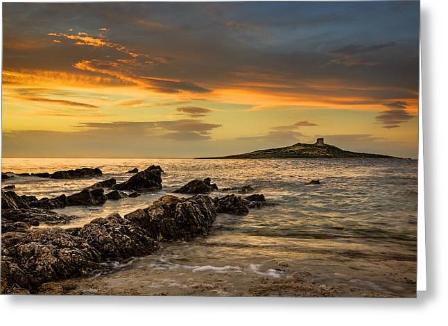 Sicilian Sunset Isola Delle Femmine Greeting Card by Ian Good