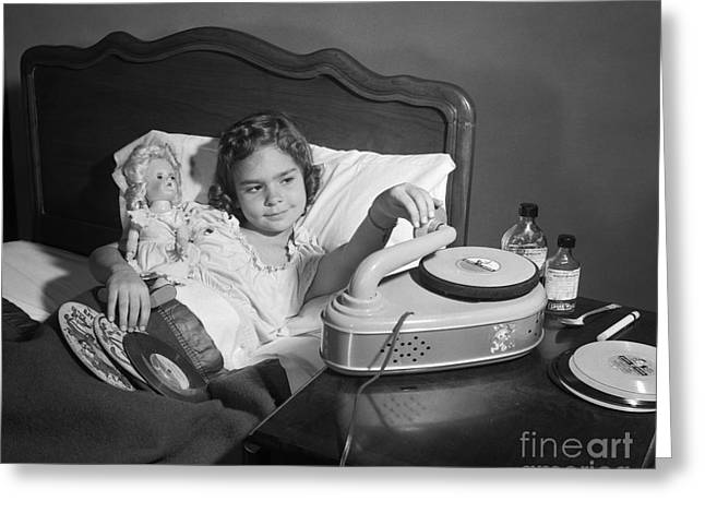Sick Girl Playing Records, C.1950s Greeting Card