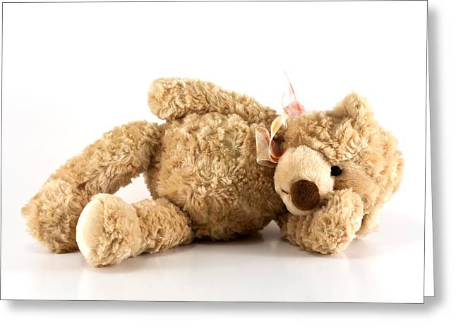Cuddly Photographs Greeting Cards - Sick teddy bear Greeting Card by Blink Images
