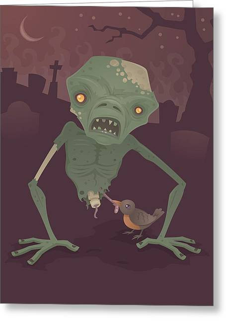Sickly Zombie Greeting Card