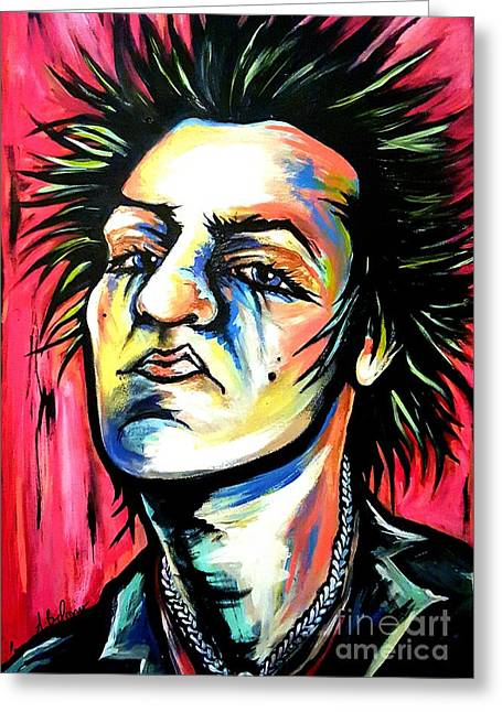 Sid Vicious Greeting Card by Amy Belonio