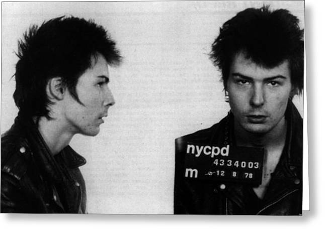 Sid Vicious Mug Shot Horizontal Greeting Card by Tony Rubino