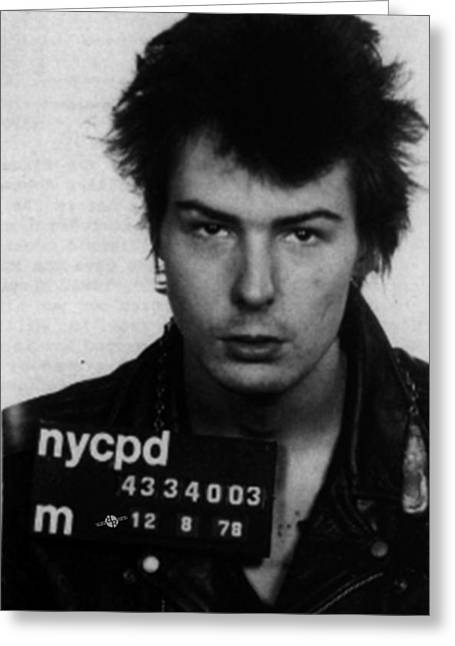 Sid Vicious Mug Shot Vertical Greeting Card by Tony Rubino