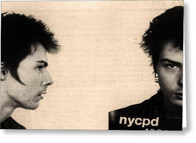 Vicious Greeting Cards - Sid Vicious Mugshot Greeting Card by Bill Cannon
