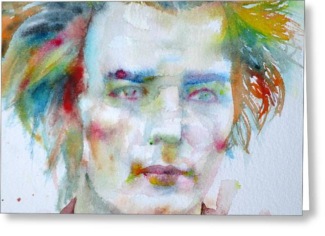 Sid Vicious - Watercolor Portrait Greeting Card by Fabrizio Cassetta