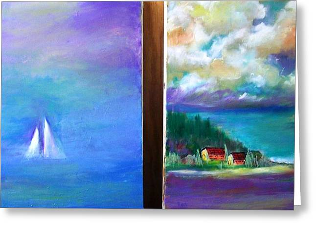 Side By Side Paintings Greeting Card