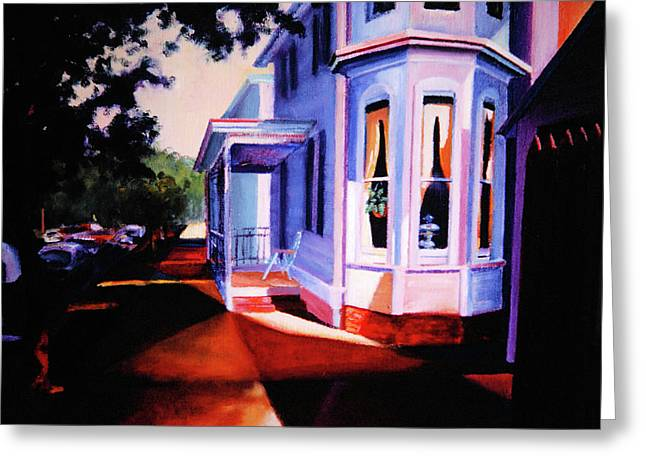 Greeting Card featuring the painting Side Street - Lambertville by Robert Henne