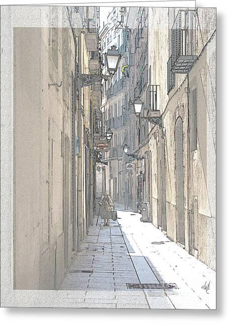 Side Street Greeting Card by Victoria Harrington
