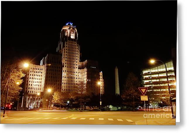 Side View Buffalo City Hall At Night Greeting Card by Daniel J Ruggiero