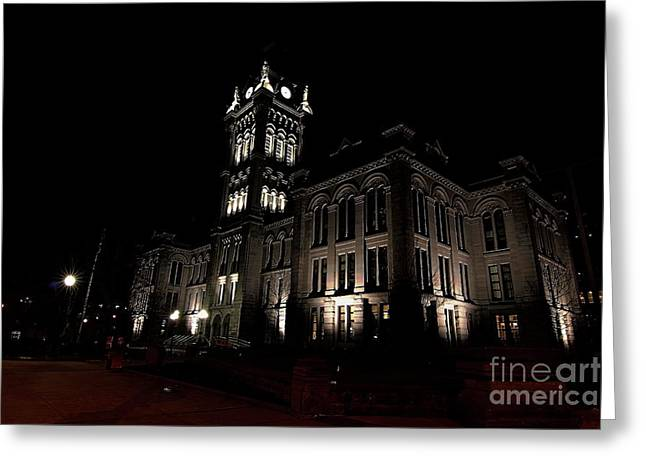 Side View Erie County Hall Greeting Card by Daniel J Ruggiero