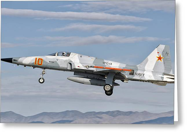 Aggressor Greeting Cards - Side View Of A F-5n Freedom Fighter Greeting Card by Giovanni Colla