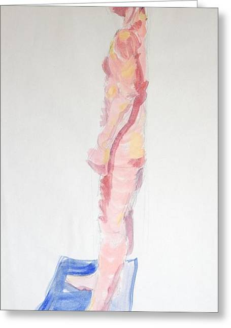 Side View Of Male Nude Standing With Back Against Wall Greeting Card