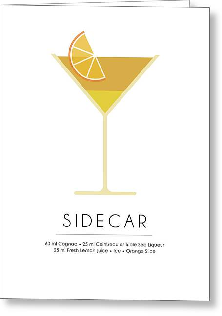 Sidecar Classic Cocktail Minimalist Print Greeting Card