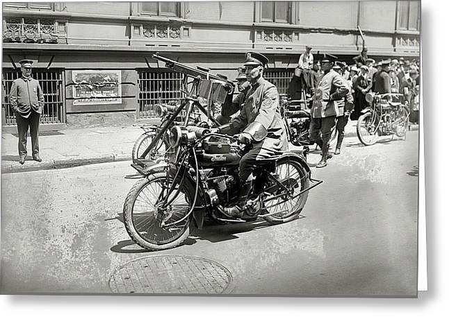Sidecar Mounted Machine Gun - New York 1918 Greeting Card by Daniel Hagerman