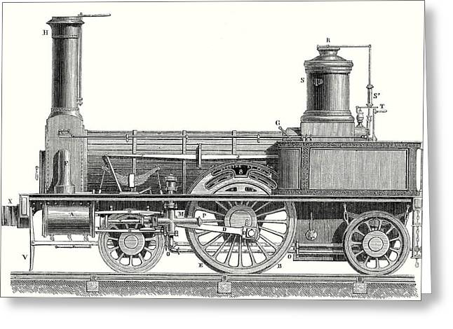 Sideview Of An Old Fashioned Locomotive Showing The Mechanism Of The Engine Greeting Card by English School