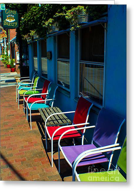 Sidewalk Cafe Greeting Card by Kevin Fortier