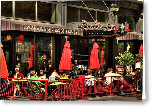 Sidewalk Cafe Greeting Card by Laurie Prentice