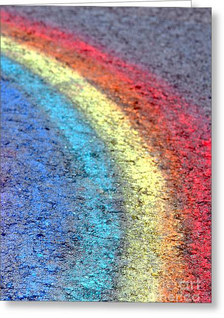 Sidewalk Rainbow  Greeting Card by Olivier Le Queinec