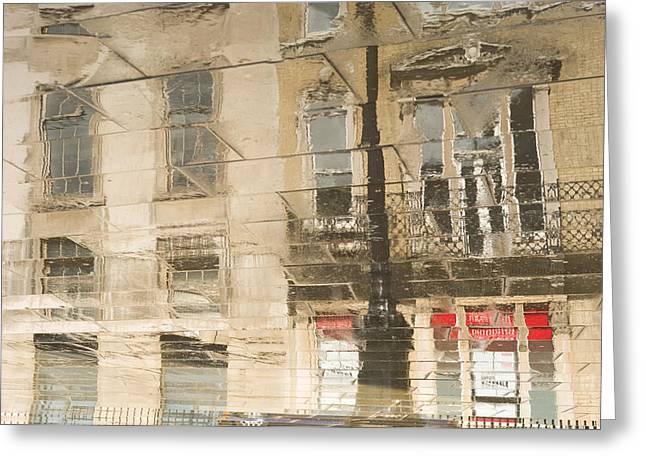 Sidewalk Reflections II Greeting Card by Clarence Holmes