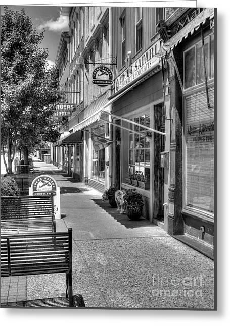 Sidewalk Scenes Bw Greeting Card by Mel Steinhauer