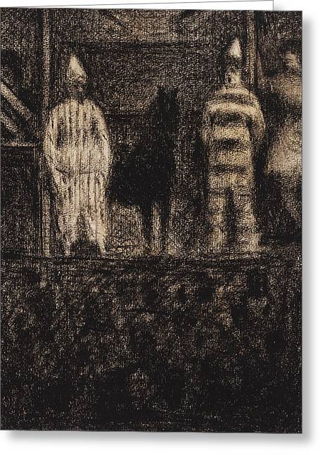 Sidewalk Show Greeting Card by Georges-Pierre Seurat