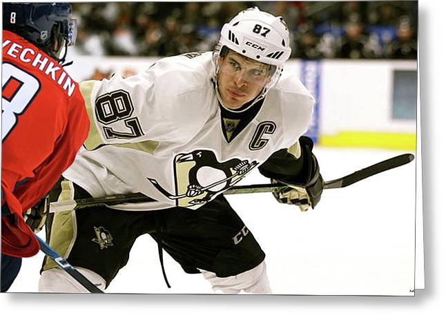 Sidney Crosby, Pittsburg Penguins, The Captain, Number 87, Face Off, Alex Ovechkin Greeting Card