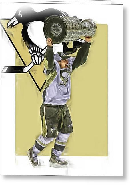 Sidney Crosby Pittsburgh Penguins Oil Art 2 Greeting Card by Joe Hamilton