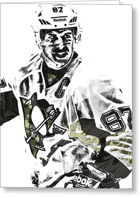 Sidney Crosby Pittsburgh Penguins Pixel Art 4 Greeting Card by Joe Hamilton