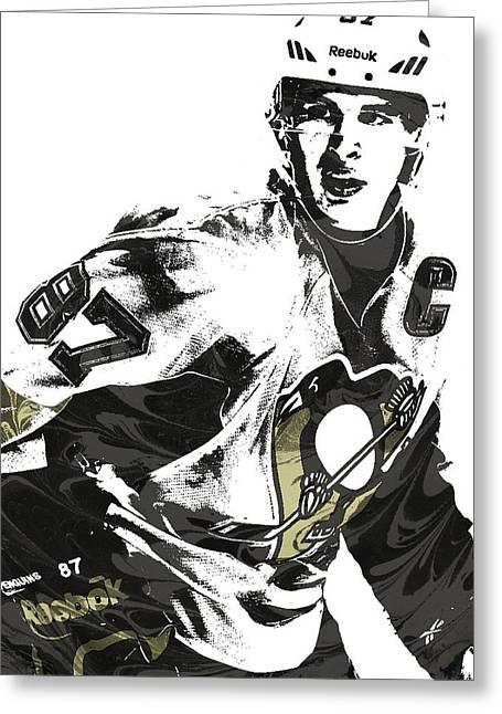 Sidney Crosby Pittsburgh Penguins Pixel Art Greeting Card by Joe Hamilton