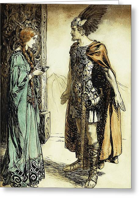 Siegfried Meets Gutrune Greeting Card by Arthur Rackham