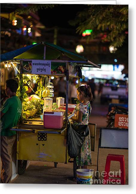 Siem Reap Fruit Stand Greeting Card by Mike Reid