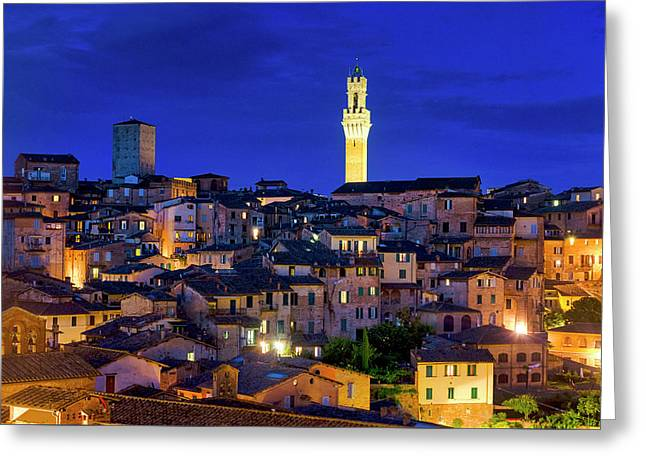 Greeting Card featuring the photograph Siena At Night by Fabrizio Troiani