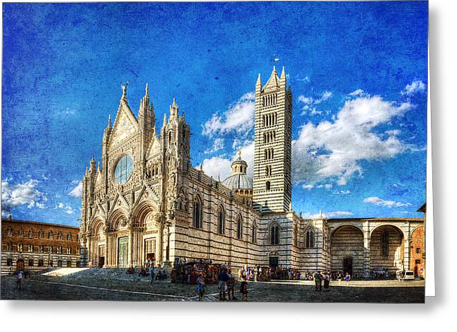 Siena Cathedral In The Evening - Vintage Version Greeting Card by Weston Westmoreland