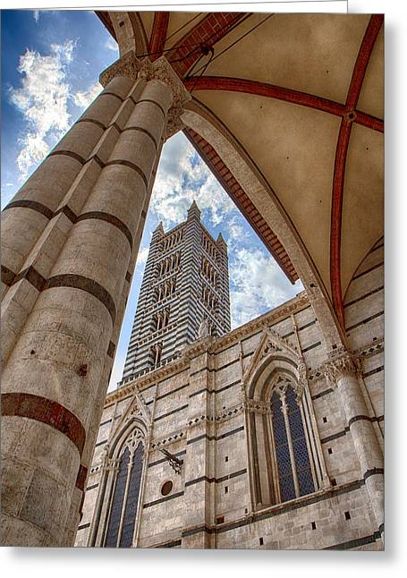 Siena Cathedral Tower Framed By Arch Greeting Card