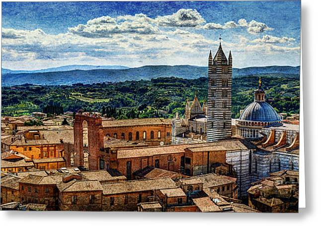 Siena - Duomo From Torre Del Mangia - Vintage Version Greeting Card by Weston Westmoreland