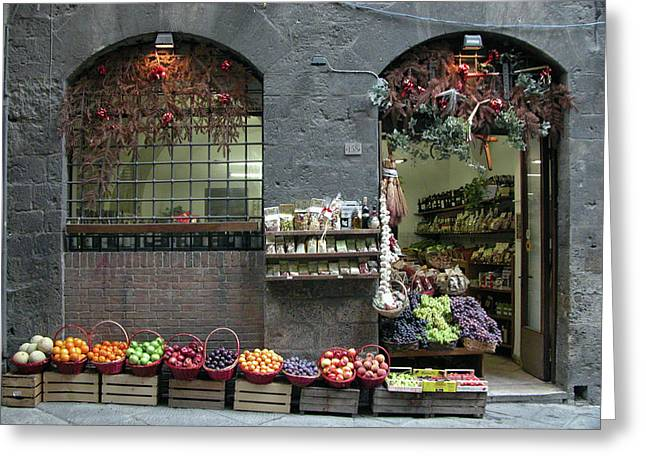 Greeting Card featuring the photograph Siena Italy Fruit Shop by Mark Czerniec