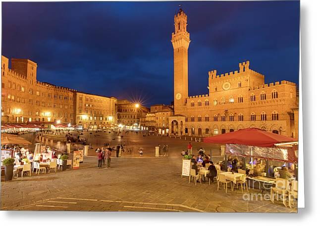 Siena Piazza Greeting Card by Brian Jannsen