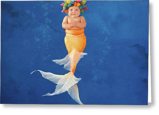 Sienna As A Mermaid Greeting Card by Anne Geddes