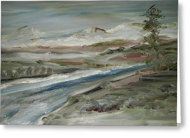Sierra Mountain Stream Greeting Card by Edward Wolverton