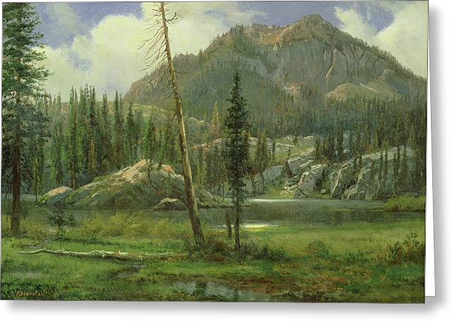 Sierra Nevada Mountains Greeting Card by Albert Bierstadt