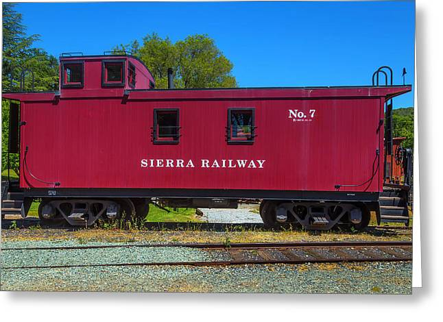 Sierra Railway Red Caboose No 7 Greeting Card