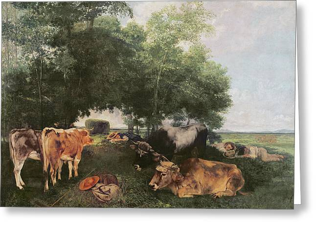 Siesta At Haymaking Time Greeting Card by Gustave Courbet