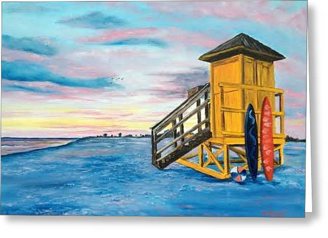 Siesta Key Life Guard Shack At Sunset Greeting Card