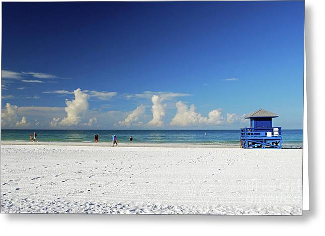 Greeting Card featuring the photograph Siesta Key Life Guard Shack by Gary Wonning