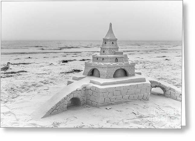 Siesta Key Sandcastle 2, Black And White Greeting Card by Liesl Walsh
