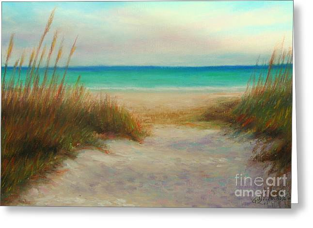 Sand Pastels Greeting Cards - Siesta Key Scene Greeting Card by Gabriela Valencia
