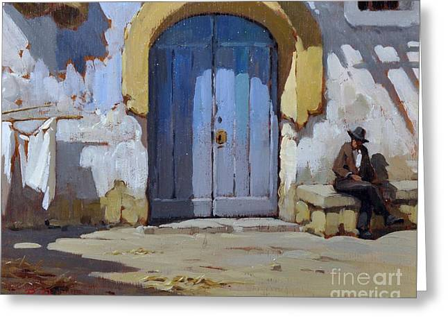 Greeting Card featuring the painting Siesta Time In Naples by Rosario Piazza