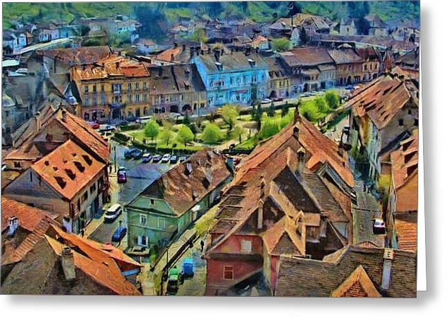 Greeting Card featuring the painting Sighisoara From Above by Jeff Kolker