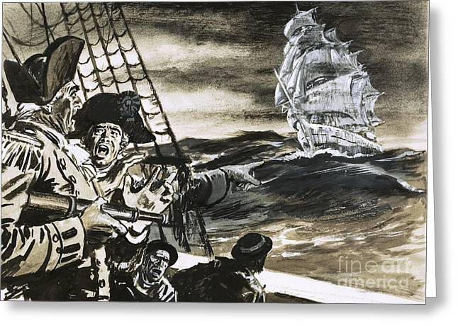 Sighting Of A Ghost Ship Greeting Card by Ralph Bruce